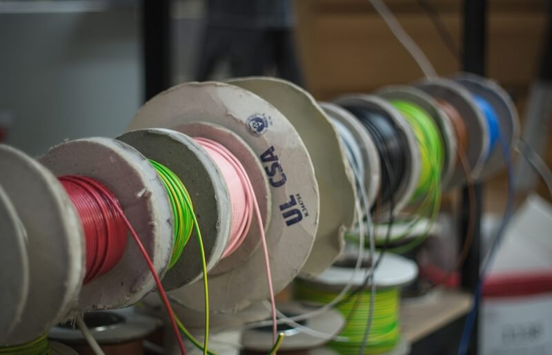 Photo of reels of various electrical cabling